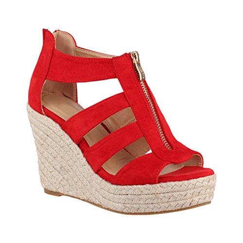 Elara Damen Keilsandalette | Bequeme Korkwedges | Plateau Sandalette | Chunkyrayan TH82221-Rot-36 Sexy Strass Heels