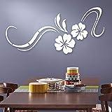 Yallylunn 3D Modern Mirror Flowers Vinyl Removable Wall Sticker Decal Home Decor Art DIY Einzigartig SchmüCken Elegante Und Kreative Wandtattoos Es Nimmt Umweltschutzmaterial