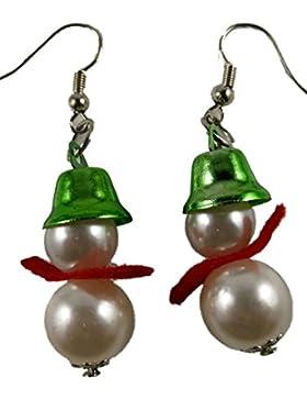 Ohrringe Ohrhänger Hänger Schneemann Weihnachten Winter Weihnachts Perlen 7196