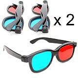 2er SET 3D-Anaglyphenbrille für TV oder PC-Spiele (rot/blau), 3D Brille für Fernseher, 3D-Gläser mit Anaglyphen-Technologie - Marke Ganzoo