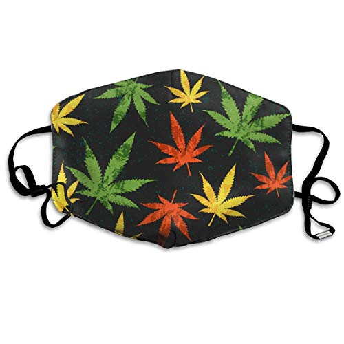 Masken, Masken für Erwachsene, Face Mask Reusable, Warm Windproof Mouth Mask, Colorful Weed Leaf Pattern Reusable Anti Dust Face Mouth Cover Mask Protective Breath Healthy ()