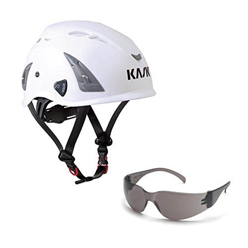 KASK Schutzhelm, Bergsteigerhelm, Industriekletterhelm Plasma AQ - Arbeitsschutz-Helm + Schutzbrille grau - EN 397, Farbe:weiß