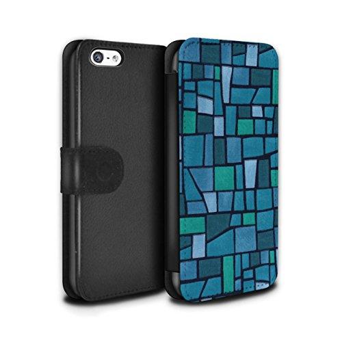 Stuff4 Coque/Etui/Housse Cuir PU Case/Cover pour Apple iPhone 5C / Rouge/Bleu Design / Carrelage Mosaïque Collection Bleu/Turquoise