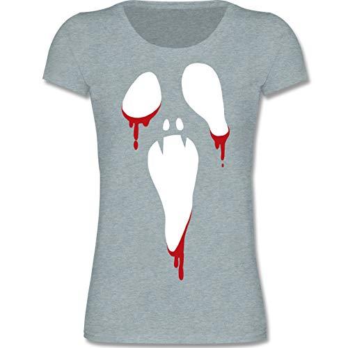 Anlässe Kinder - Scream Halloween - 122-128 (7-8 Jahre) - Blau/Grau meliert - F288K - Mädchen T-Shirt