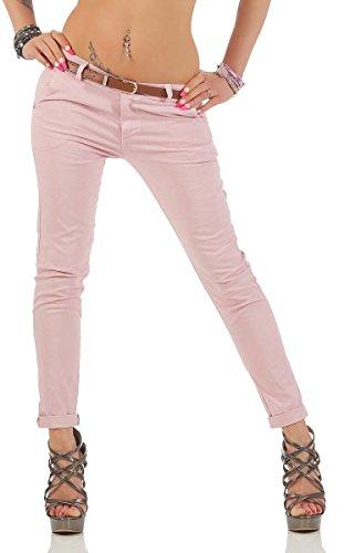 Fashion4Young Damen Skinny Chino Pant Hautenge Treggings Stretch-Stoff Damenhose mit Gürtel (XL=42, 11146-altrosa) (Stretch-jeans Rosa)