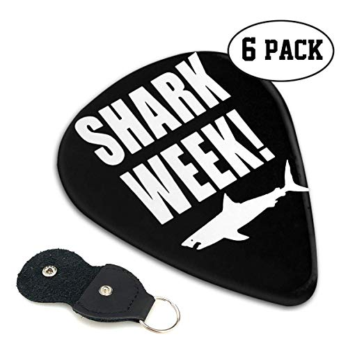 Shark Week Celluloid Guitar Picks Premium Picks 6 Pack for Guitar,Mandolin,and Bass 0.46mm, 0.71mm, 0.96mm Optional with PU Leather Pick Holder(0.71mm)
