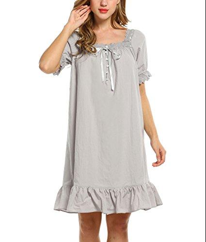 Keland Damen Nachthemd kurzarm Sleepshirt Schlafanzüge mit Lotusblatt Seite grau kurz