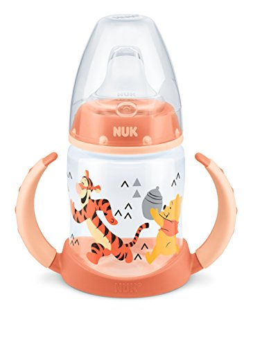 NUK 10215221 Disney Winnie First Choice Trinklernflasche aus PP 150ml, mit Soft-Trinktülle aus Silikon, BPA frei, ab 6 Monate, lachs