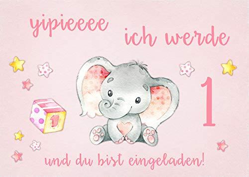 10 Einladungskarten Baby Elefant rosa 1. Kindergeburtstag Kinder Party Geburtstag-Einladungen zum Ausfüllen (Mädchen)
