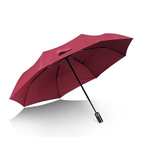 CJC Parapluie Trois pli Plier Automatique Coupe-Vent imperméable Séchage Rapide (Couleur : Red)