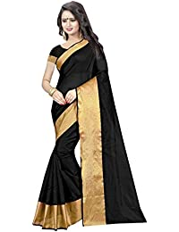 The Shopoholic Cotton Polyester Silk Plain Black Casual Wear Saree For Women
