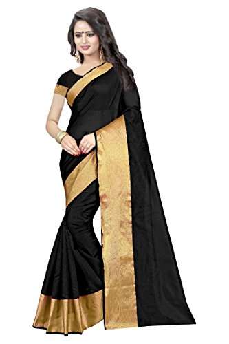 Kanchan Women's Silk Saree With Blouse Piece (BLACK)