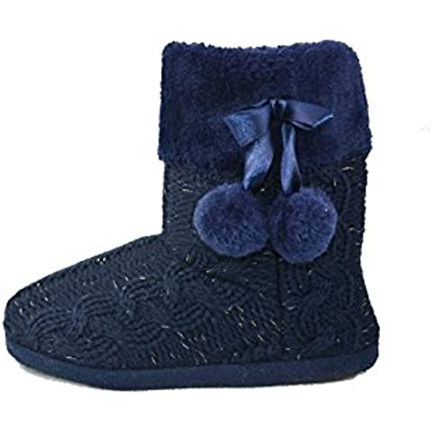 Zapatillas para interiores con bordes tejidos de punto y pompones, para mujer