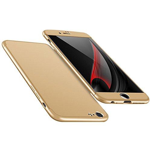 iPhone 6 Plus Hülle, 3 in 1 Ultra Dünner PC Harte Case 360 Grad Ganzkörper Schützend Anti-Kratzer Schutzhülle Vollschutz Hülle für Apple iPhone 6 Plus / 6S Plus 5.5 zoll Fall Premium mattierte Schutzh Gold