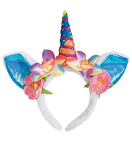 Kostüm Märchen Und Fabeln - KarnevalsTeufel Haarreif Einhorn mit Ohren und Blumenschmuck, Haarschmuck, Unicorn, Kostüm, Märchen, Karneval, Fasching