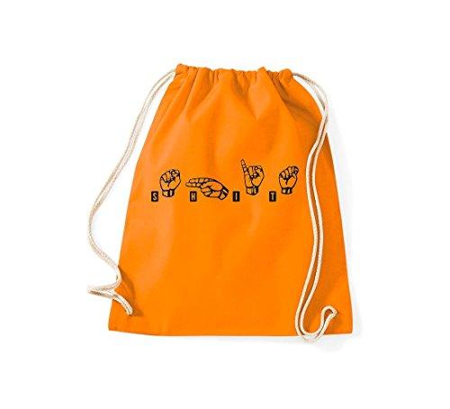 Shirtstown Turnbeutel Zeichensprache SHIT orange