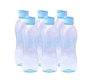 Pearlpet Plastic Spring Water Bottles, 900 Ml, Pack of 6, Nean Sky Blue