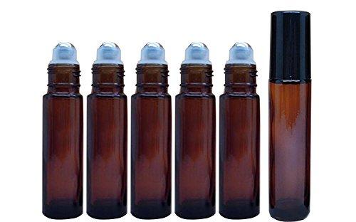Bernstein 6 Stück 10 ml 0.34oz braun auf Rolle-Flaschen Glas mit Edelstahl-Roller Ball für Öl Parfums Lip Gloss Balm Roller Flasche Flakon Container - Lip-roller