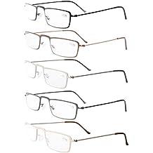 Eyekepper Lot de 5 paires de lunettes de lecture demi-lune avec cadres en  acier 4c45cbf717d1