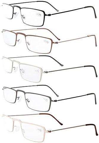 Eyekepper 5-Pack rostfrei Staal Frame Halb-Augen Stil Lesebrille Leser +2.5