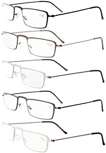 c50565322f 5-Pack Straight Thin Stamped Metal Frame Half-Eye Style Reading ...