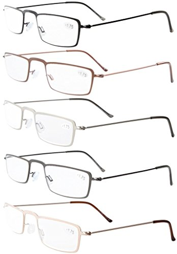 f0ea4733a2 5-Pack Straight Thin Stamped Metal Frame Half-eye Style Reading ...