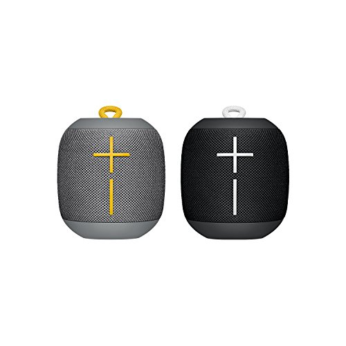 Ultimate Ears WONDERBOOM Bluetooth Speaker Waterproof with Double-Up Connection - Black and Grey, Pack of 2