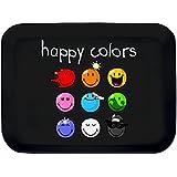 Incidence Paris 22189 Plateau Imprimé Happy Colors Mélamine Noir 30,5 x 22 x 1,5 cm Petit Modèle
