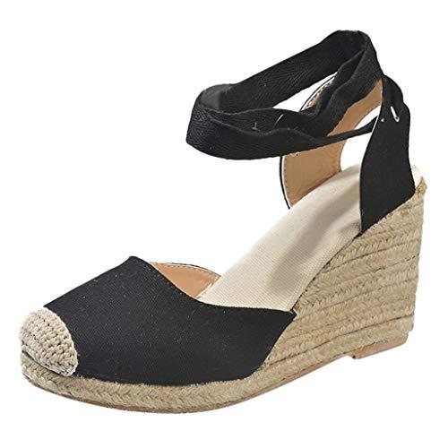 iLPM5 Damen Sommer Freizeit Sandalen mit Keilabsatz Kreuzriemen Schnürung High Heel Round Toe Plateau Pump Sandalen mit dickem Boden Schuhe Tan Peep Toe Pumps