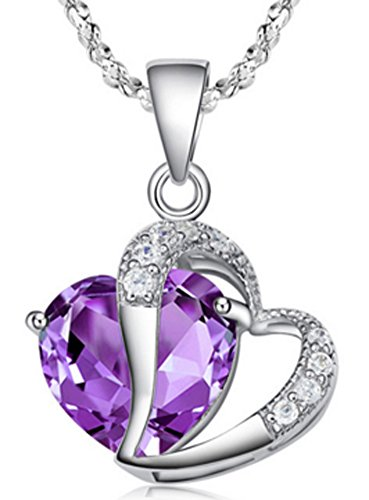 SaySure - 925 Sterling Silver White Purple Heart Pendant