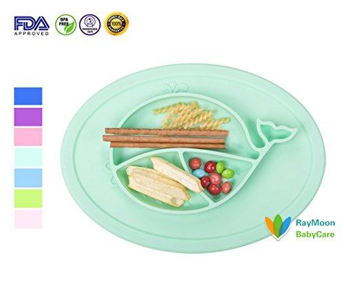 nder Rutschfest Rund Wal Fisch Muster aus Silikon Baby Teller Schale Geschirr Platzdeckchen Tischset Hellgrün (Baby-themen-essen)