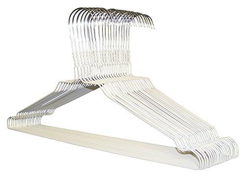 50 Kleiderbügel - Drahtbügel in WEISS inklusive 10 Hosenstege - Extreme Stabilität / Hochwertige Kleiderbügel für Sie und Ihn (50)