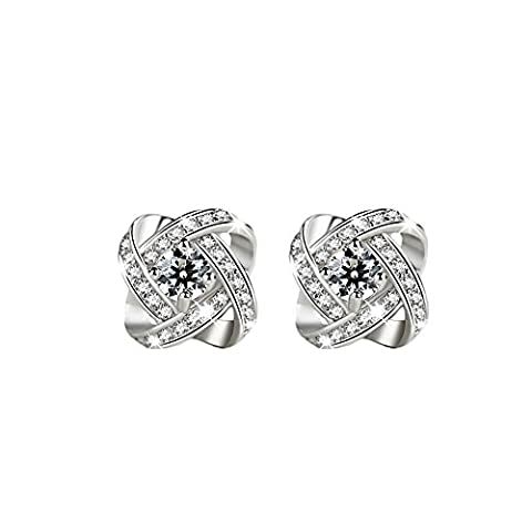 Lianjie Women's Silver Plated Square Flower Cubic Zirconia Rhinestone Stud Earrings Wedding Jewelry (White)