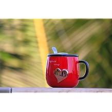 Satyam Kraft ceramic LOVE FOREVER red mug with lid & spoon for valentine gift/gift/gift for love one/valentine gift idea/love mug