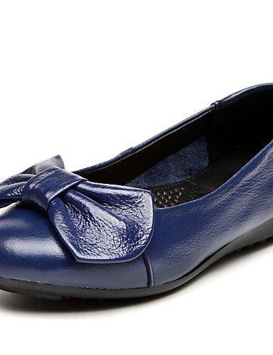 ShangYi Scarpe Donna - Ballerine - Tempo libero / Ufficio e lavoro / Casual - Comoda / Punta arrotondata - Piatto - Di pelle - Nero / Blu , blue-us5.5 / eu36 / uk3.5 / cn35 , blue-us5.5 / eu36 / uk3.5 Blue