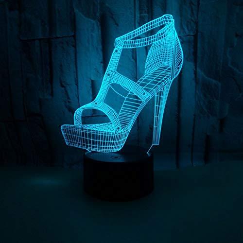 Wuqingren High Heels 3D Illusion Lampe 7 Farbwechsel Touch LED Schuhe 3D Nachtlicht Schreibtischlampe Schuhgeschäft Beleuchtung,A2,Touch Only