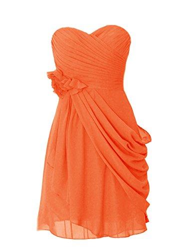 Dresstells, robe courte de demoiselle d'honneur mousseline avec fleurs Orange