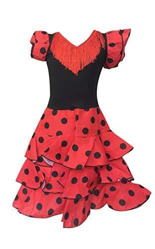 La Senorita Spanische Flamenco Kleid Niño Deluxe / Kostüm - für Mädchen / Kinder - Rot / Schwarz (Größe 116-122 - Länge 80 cm- 6-7 Jahr)