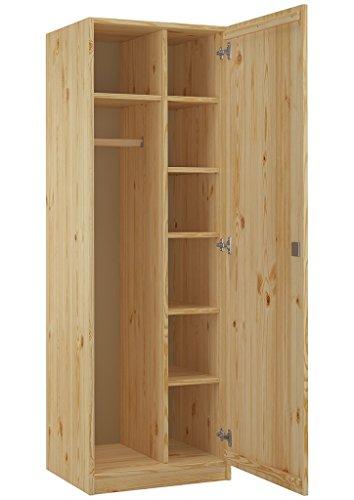 Erst-Holz® 90.60-42 Schrank Spind Eintürig Kiefer Massiv mit vielen Fächern und Schloss