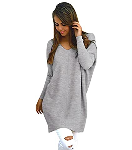 Pull Long Maille Femme Pull Tunique Oversize Manches Longues Col V Ample Chaud Hiver Epais Pull Robe Habillé Sweater Loose Large Tricot Chandail Jumper Tops Beau Automne Gris XL