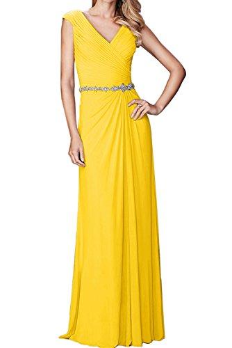 Sunvary Damen Neu V-Neck Chiffon Falte Etui Abendkleider Lang Partykleider Promkleider Golden