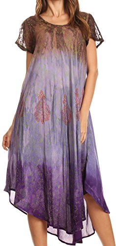 Sakkas 17802 - Samira Color Block Printed Sheer mit Flügelärmeln Relaxed Fit Dress | Cover Up - Braun - OS - Sheer Cover-up-hose