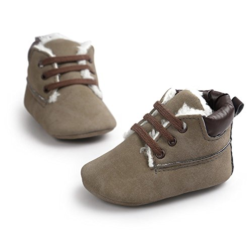 Cutelove confortevole morbida antiscivolo desorbimento facile cinque colori per proteggere le scarpe scarpe unisex baby baby bambini primi camminatori di direzione più velluto Hodan stivali scarpe Grigio