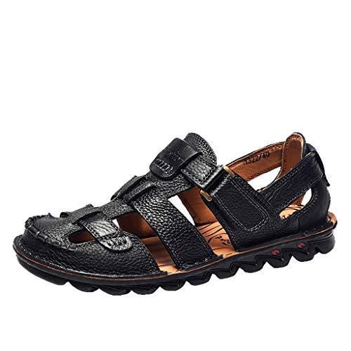 ODRD Sandalen Shoes Lässige Sommer Herren Ledersandalen Wohnungen Strand Wandern Rutschfeste Unterseite Freizeitschuhe Schuhe Strandschuhe Freizeitschuhe Turnschuhe Hausschuhe -