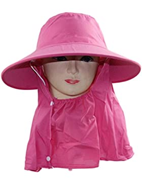 Outdoor Cappello Da Sole Cappello Da Sole UV Di Protezione Del Collo Estate Signora Cappello A Tesa Larga,Red-AllCode