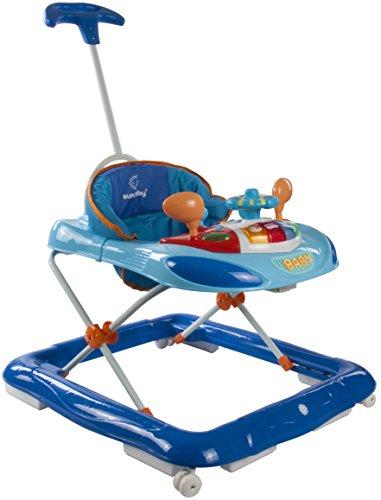 Sun Baby Walker - Andador con volante y barra de empuje, color azul