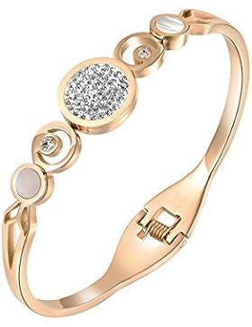 Oven Moda® Weihnachten Geschenk Schmuck 18K Rose Gold vergoldet Swarovski Elementen Crystal Edelstahl Armreif...