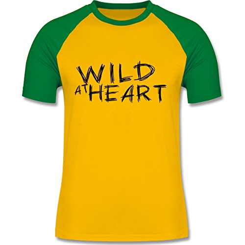 Festival - Wild at heart - zweifarbiges Baseballshirt für Männer Gelb/Grün