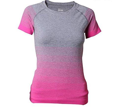 Hippolo Damen T-Shirt Sport Shirt Farbverlauf Shirts Sportbekleidung Laufshirt Freizeit Top Oberteil Kurzarm Rundhals (L, Fuchsie)