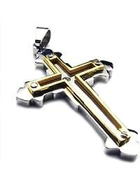 Collane AnaZoz Collana Uomo Ciondolo Acciaio Inossidabile Catena Croce 2.6cm Oro Argento 18-28 Polici